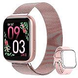 AIMIUVEI Smartwatch Donna, Orologio Fitness Donna Full Touch 1,4 Pollici Cardiofrequenzimetro da Polso Pressione Sanguigna Contapassi Calorie Notifiche Messaggi Smart Watch IP67 per Android iOS Rosa
