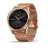 Garmin Vivomove Luxe Smartwatch Hybrid Analogico Digitale Unisex, Cassa Oro Rosa, Cinturino Acciaio Maglia Milano Oro Rosa 010-02241-04